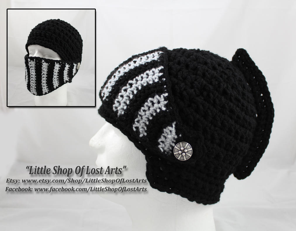 Crochet Black Knights Helmet. by LittleShopOfLostArts
