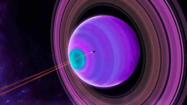 Crossing the Violet Super-Saturn