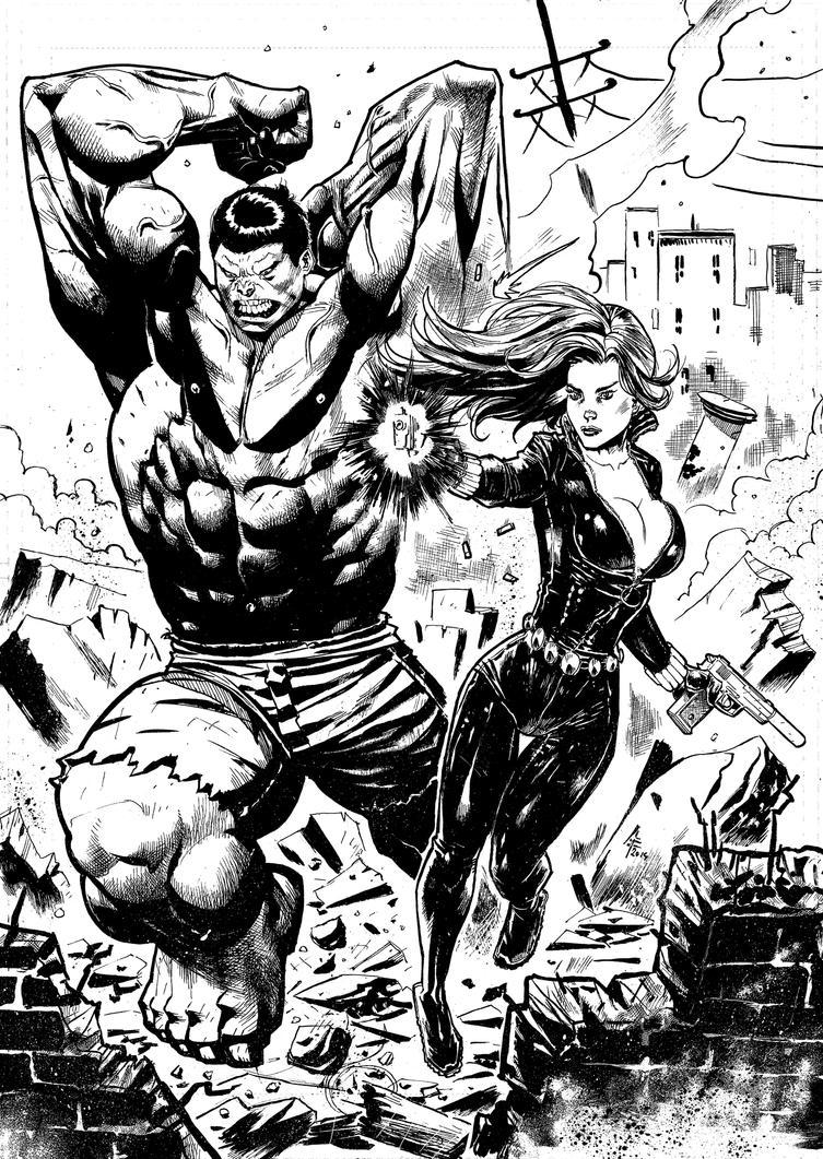 Hulk + Black Widow Commission by xavor85