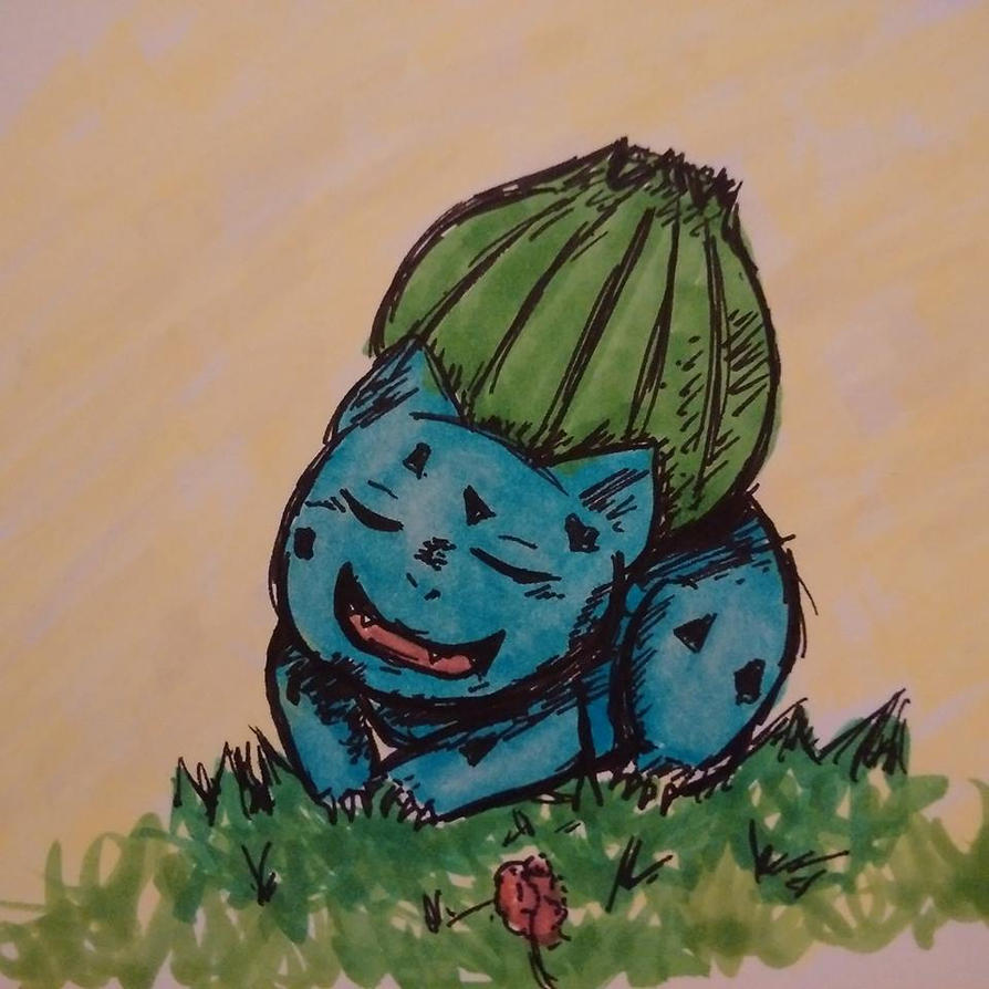 Copic Practice: #001 Bulbasaur by Miss-Riah