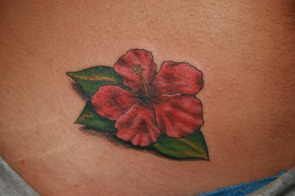 Habiscus Flower Tattoo Color - flower tattoo