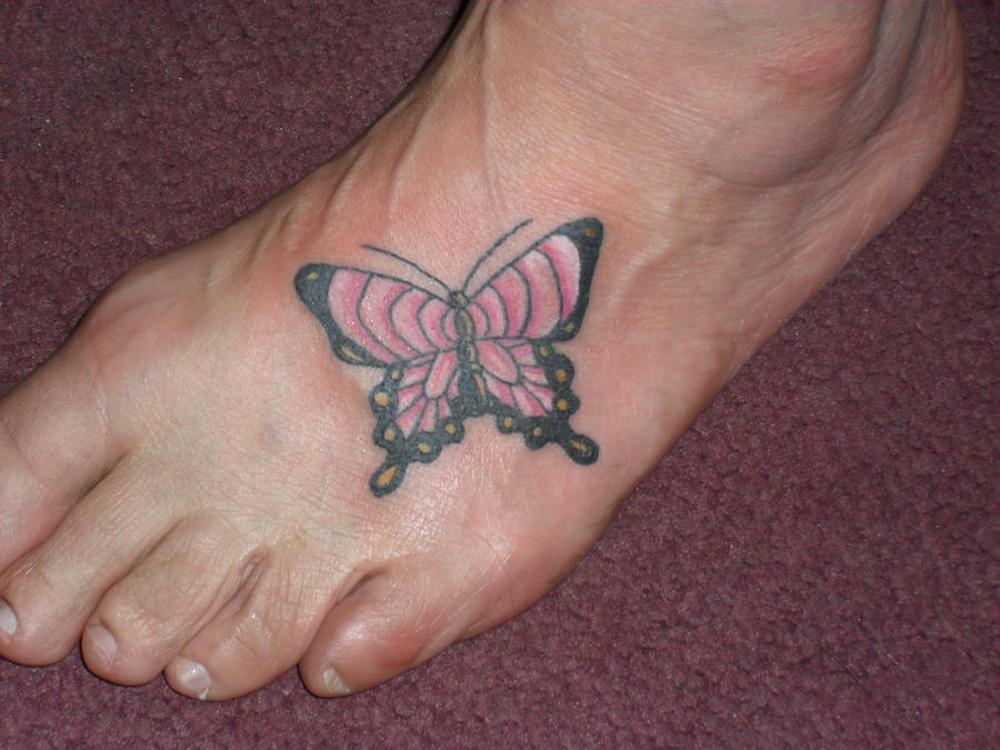 butterfly on foot tattoo by MeghanBeth