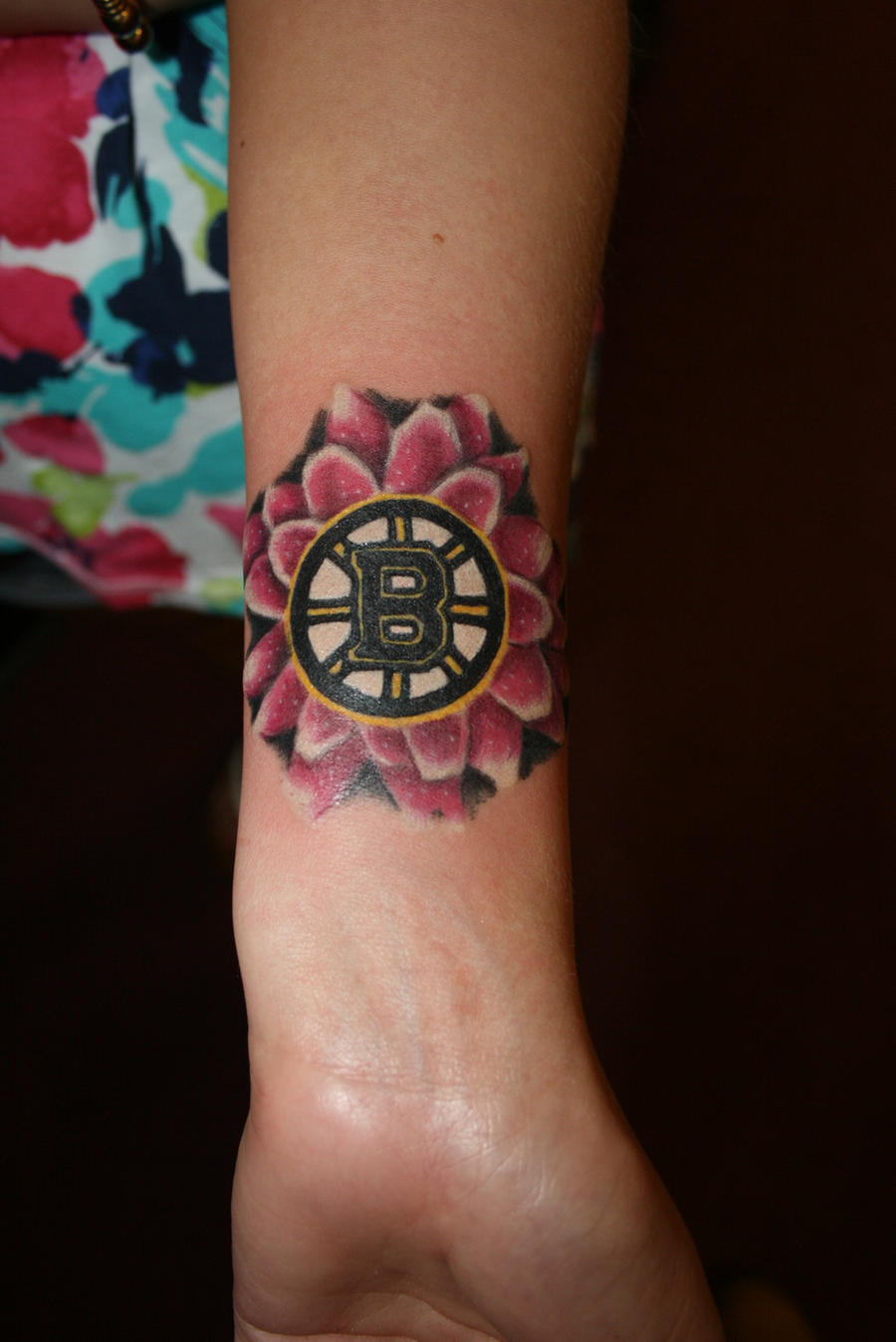 Boston bruins flower by meghanbeth on deviantart for Tattoo artists boston