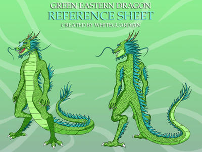 Green Eastern Dragon Reference Sheet by whiteguardian