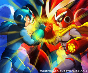 Megaman vs Protoman by whiteguardian