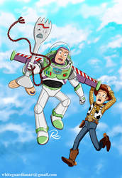 Woody, Buzz and Forky by whiteguardian