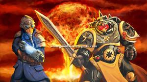 Death Korps Field Officer vs Black Templar Emperor