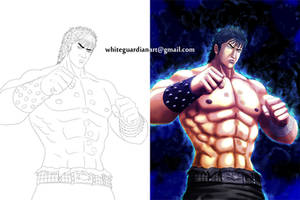 Kenshiro Sketch and After Colored