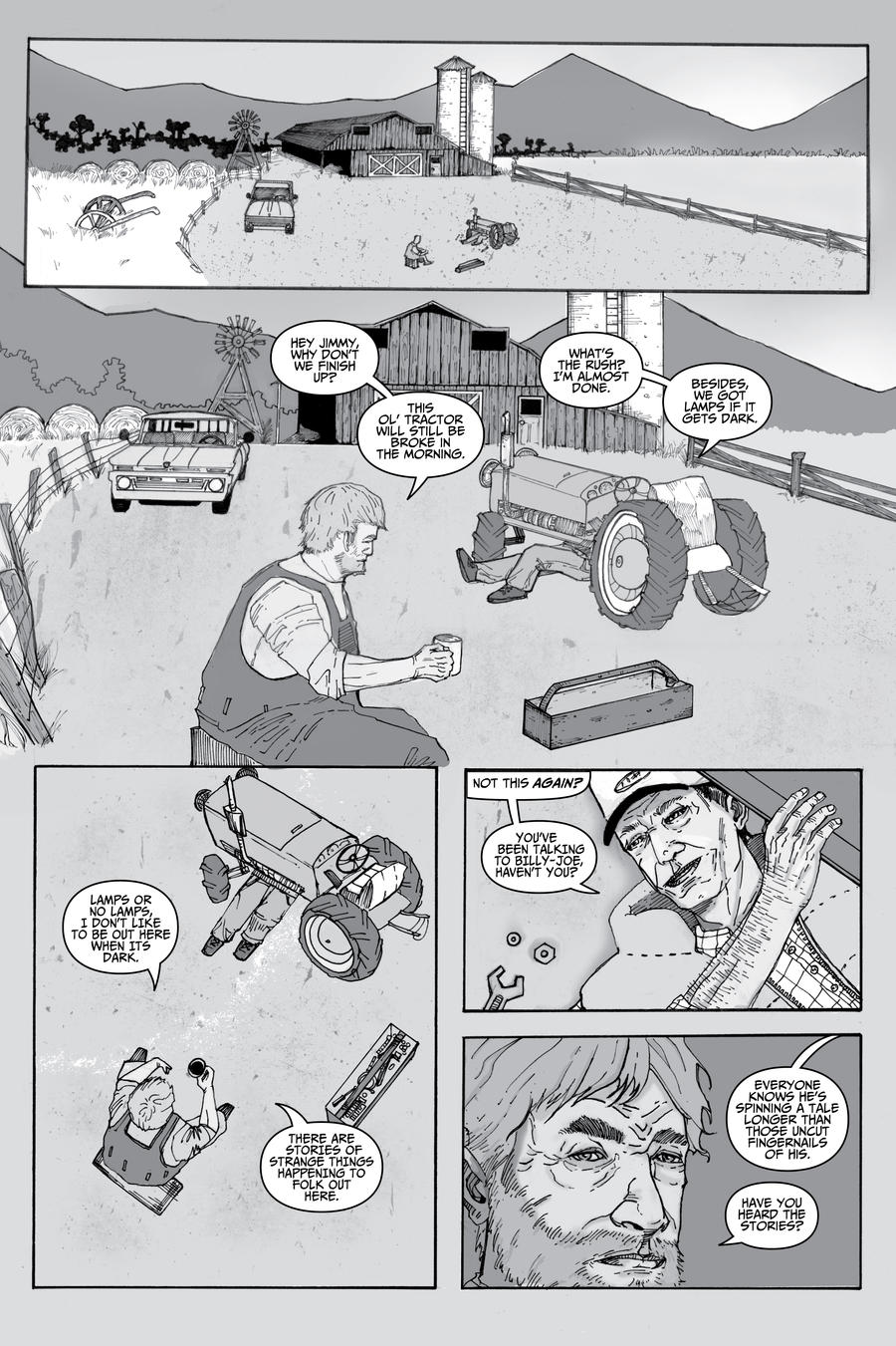 Page 1  Greyscale shading and Lettering by Sebastian-Chow