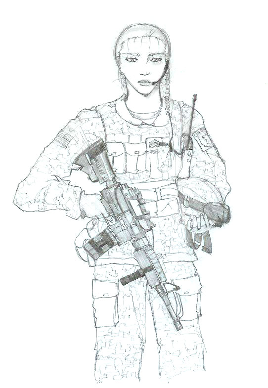 Female Army Soldier Sketch. by Daimoth on DeviantArt
