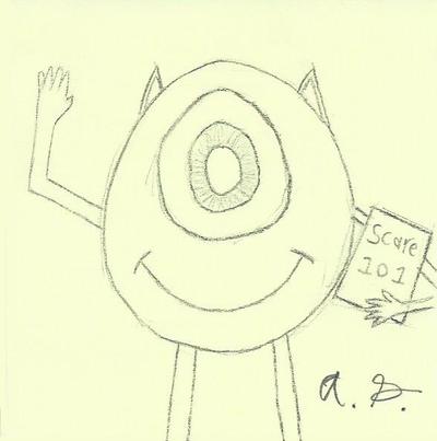 Mike Wazowski Sketch by Ponkool4