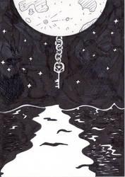 Inktober Day 26 - Moon, Key and Sea
