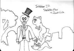 Inktober Day 27 - Skeleton Man and Ghost Kitties