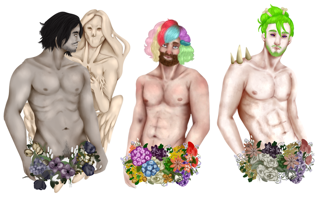 [YCH] Flower Boys ~ Cact-ry by Qu-Ross