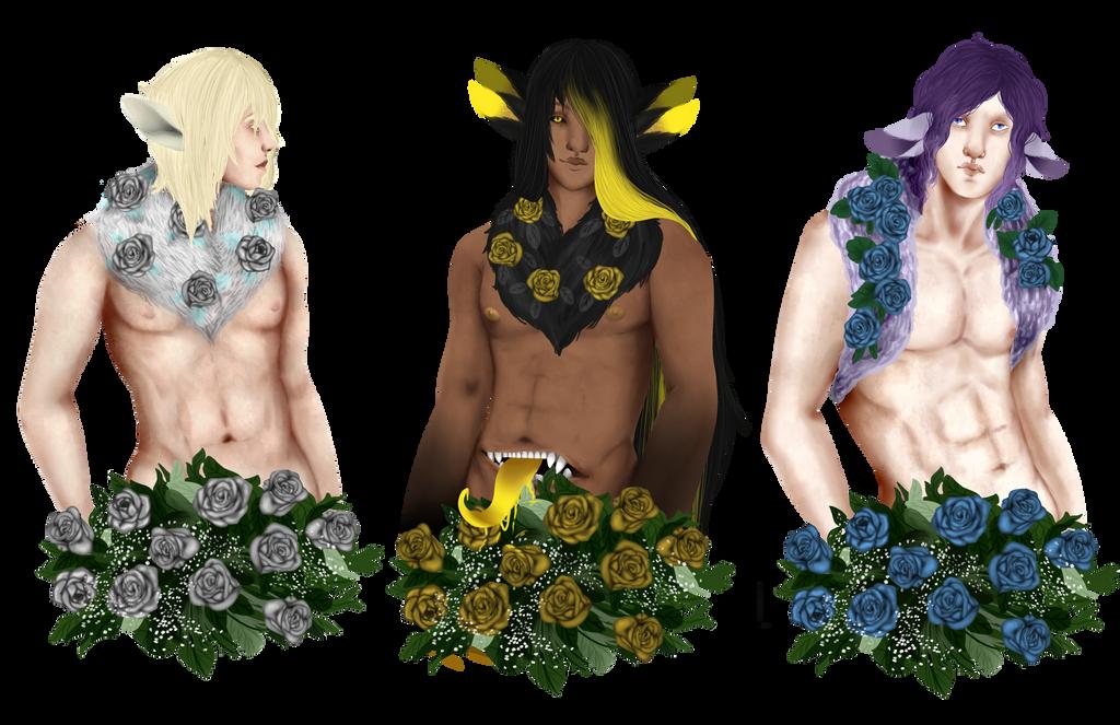 [YCH] Flower Boys ~ fluff boys by Qu-Ross
