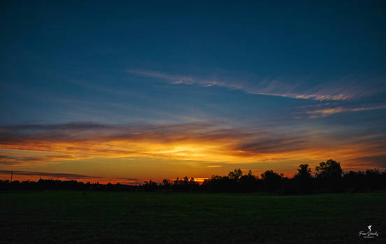 Beautiful Skies at Dawn over some Fields