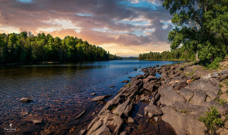 Scraggy Rocks Along a River Shoreline