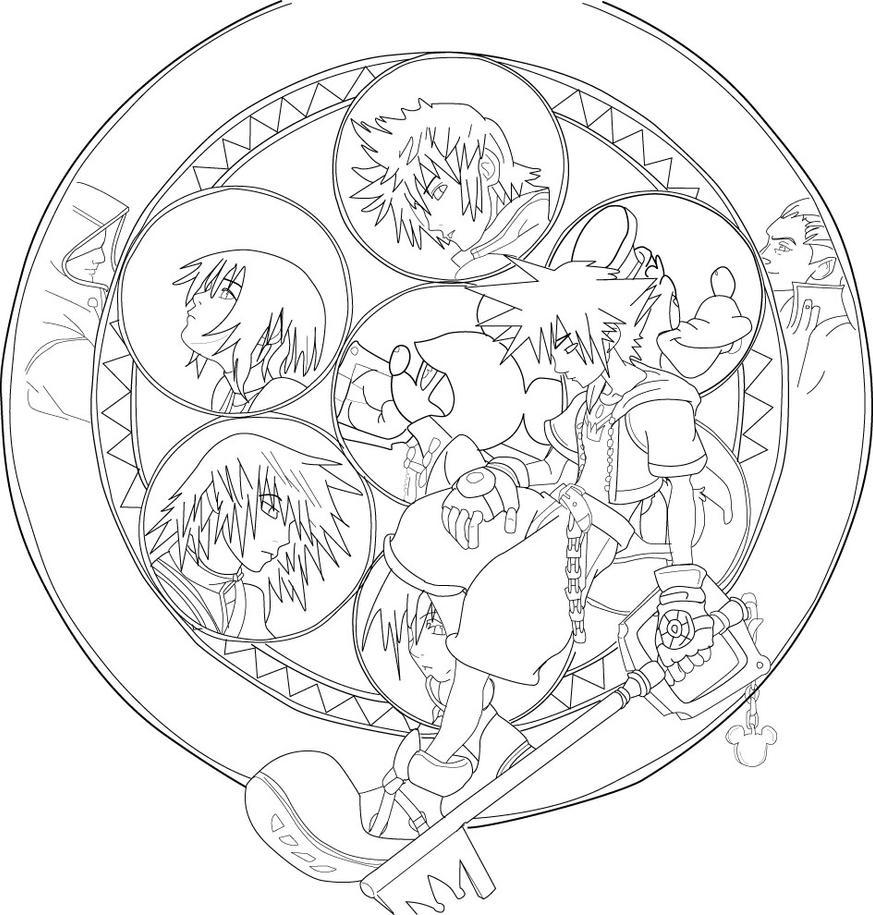 Kingdom Hearts Lineart : Kingdom hearts work in progress by stayawayfromme on