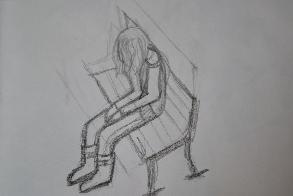 Sketch of girl sitting alone by hawwyyy