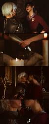 Fenris and Hawke cosplay (Romance scene) by OvoshPolufabrikat