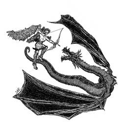 Angel Archer versus Dragon by ashitaka-sd