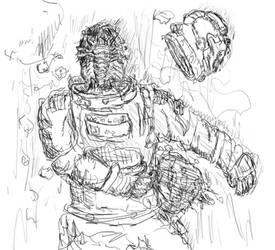 face-hugger on astronaut by ashitaka-sd