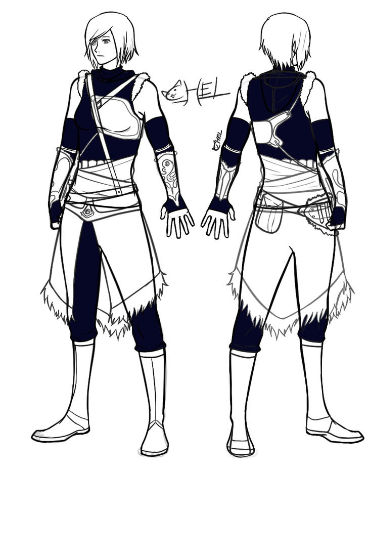 Assassin Korra -front and back- by xXLittleBlueFireXx