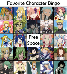Favorite Anime Character Bingo by StellarFairy