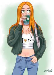 Minerva drinking coffee