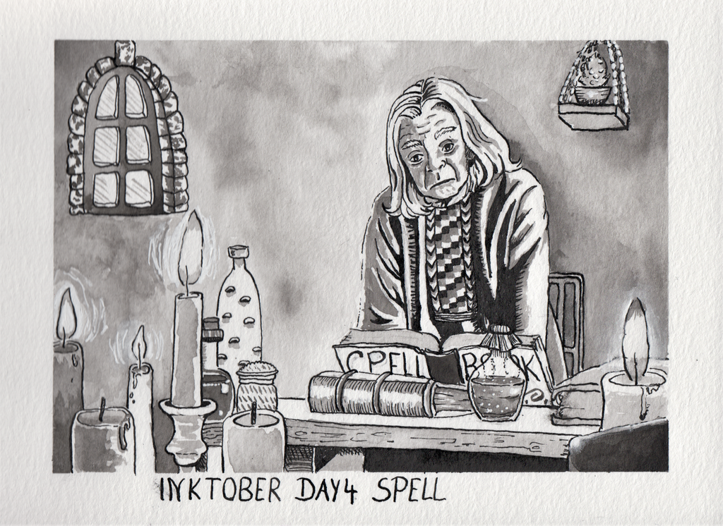 Inktober day 4 Spell by Thalyndra