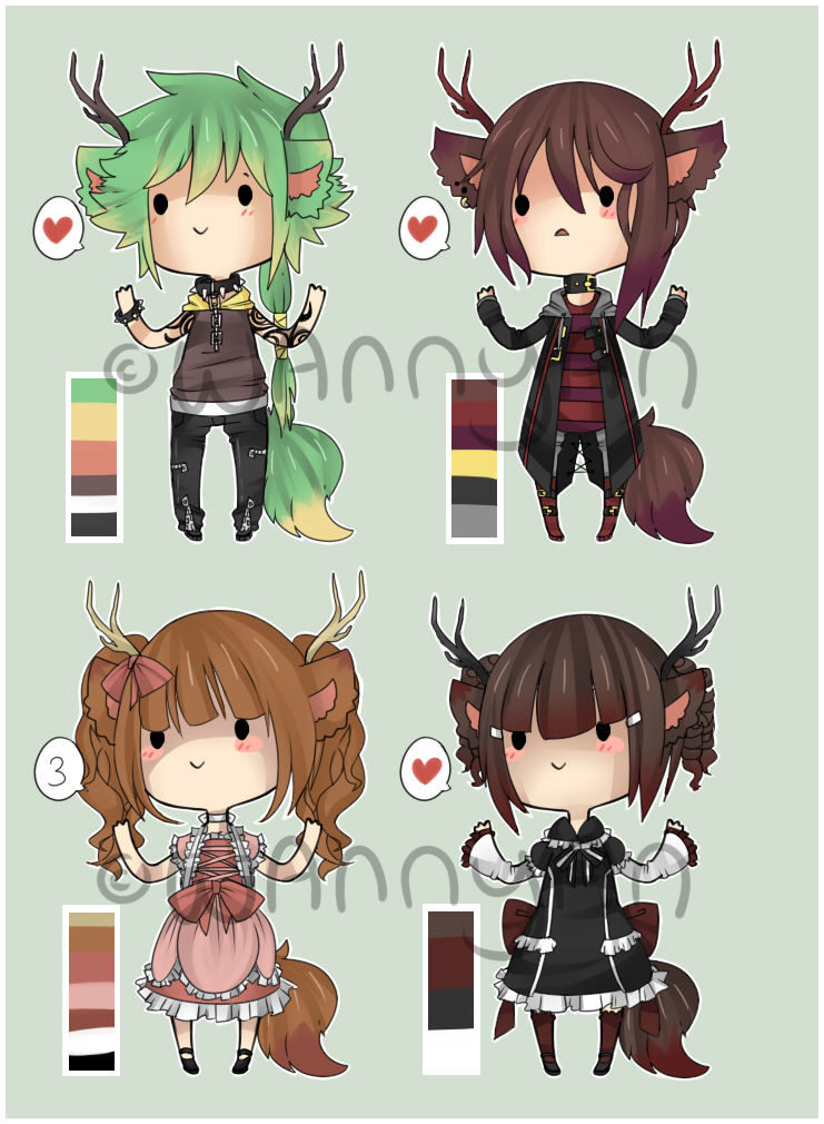 Deer Fox Set 2 adopts [CLOSED] by WanNyan
