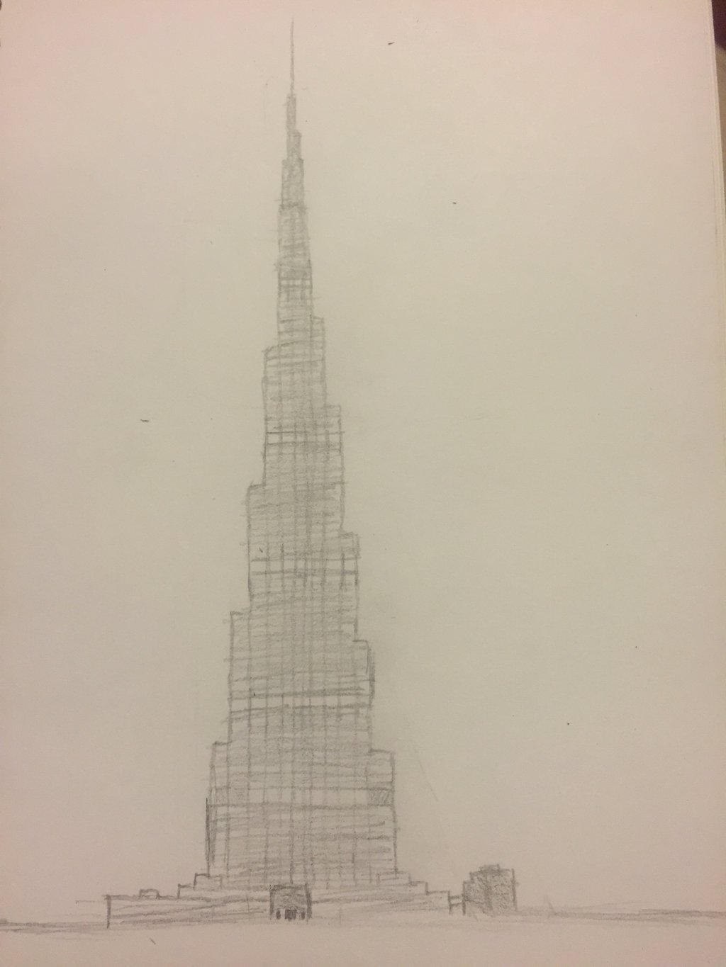 Sketch of burj khalifa by mrcolate8 on deviantart for Burj khalifa sketch