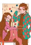 Nezuko . Tanjirou School . Doodle