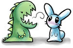 dinosaur and rabbit