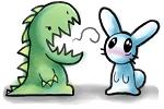 dinosaur and rabbit by VanillaSunny