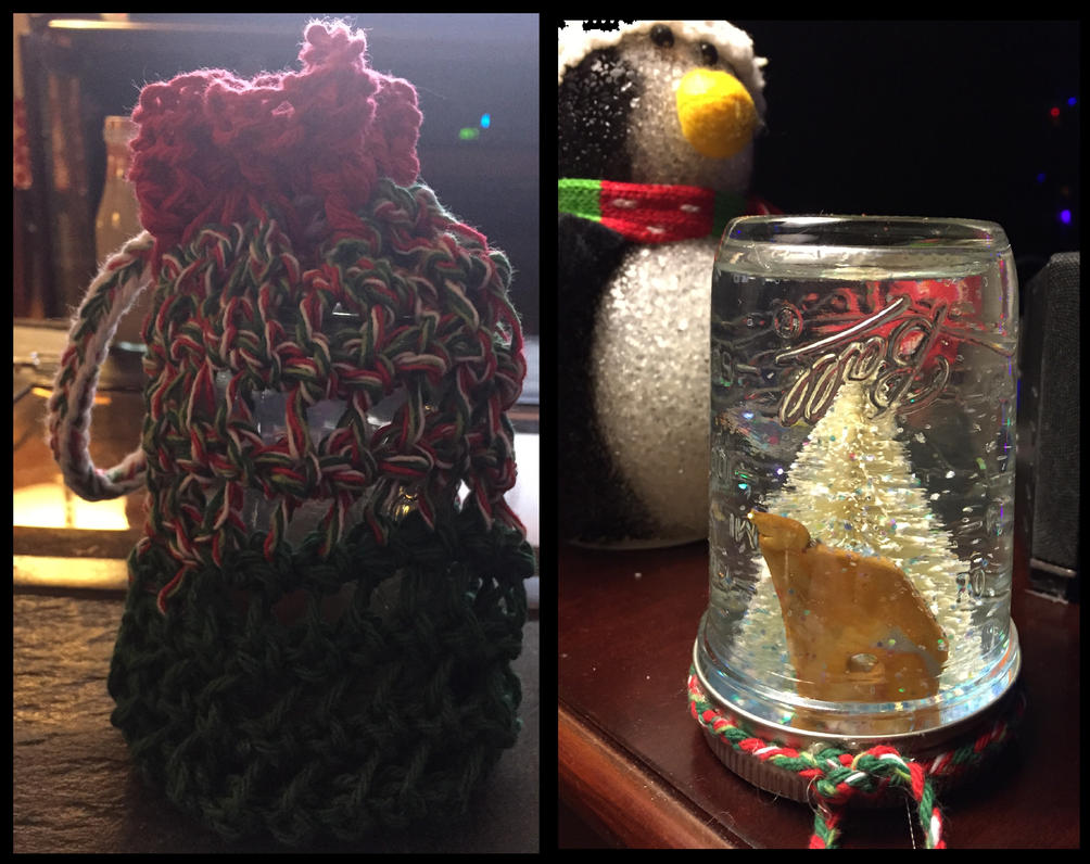 Snowglobe and Knitted Bag by BlackStray