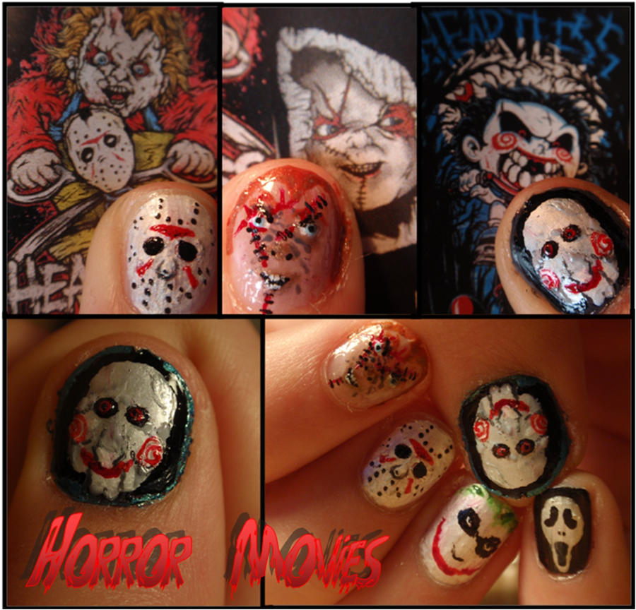 horror movie nails by Ninails
