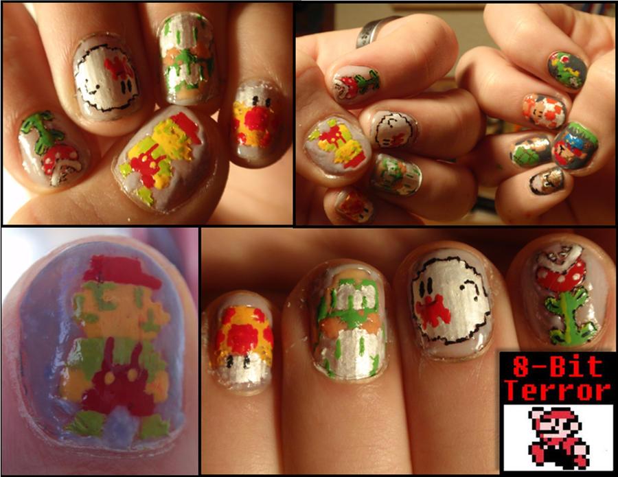 mario 8-bit nails 2 by Ninails on DeviantArt