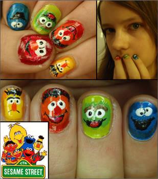 sesame street nails by Ninails