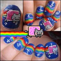 nyan cat nails by Ninails