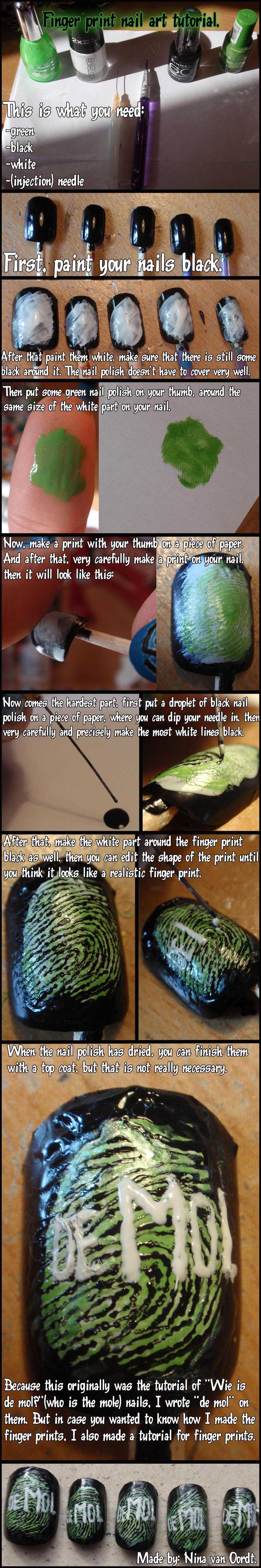 fingerprints nail art tutorial by Ninails