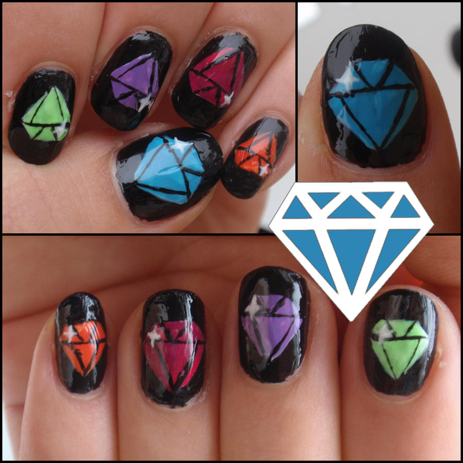 Nail Art Design With Diamonds ~ Black diamond nail art design