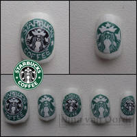 Starbucks Coffee nails by Ninails