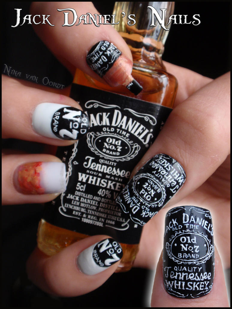 Jack Daniel's nails by JawsOfKita-LoveHim