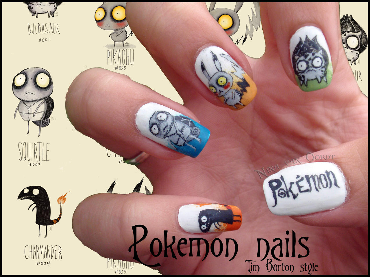 Pokemon Tim Burton Style Nails by Ninails on DeviantArt
