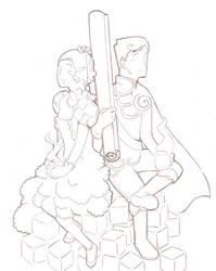 Princess Sugar and Prince Cinnamon  blanco y negro
