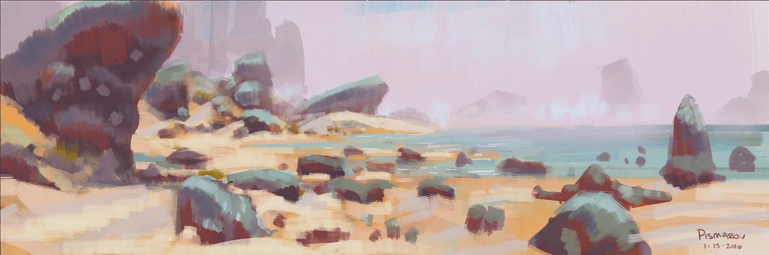 Morning Coast Sketch by AnthonyPismarov