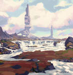 Towers Over Red Plains Environment Color Concept