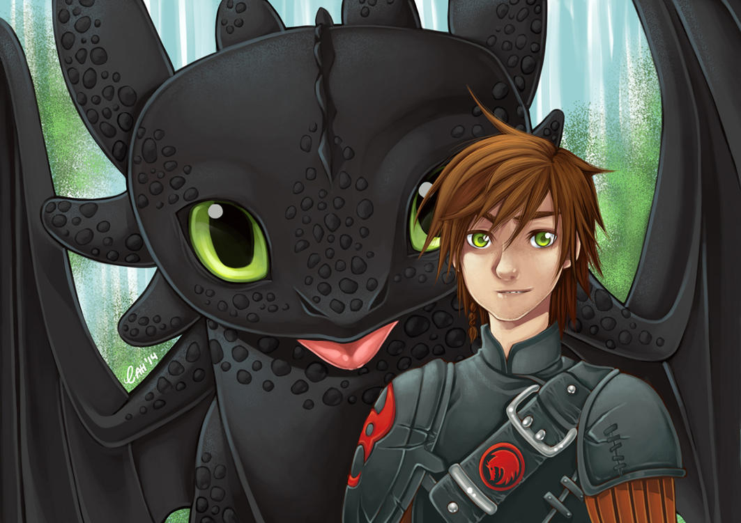 Hiccup and Toothless by Cah-Poszar