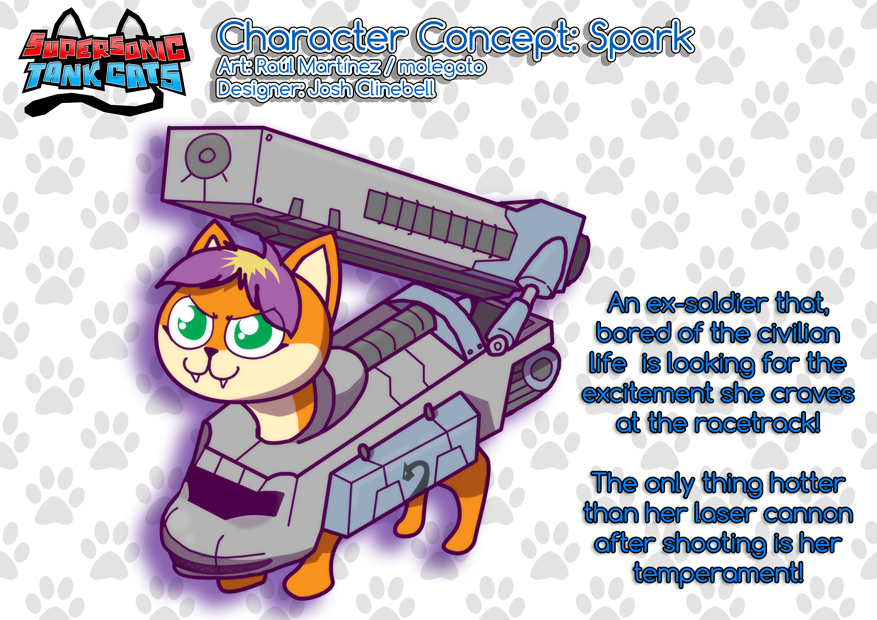 Supersonic Tank Cats character sheet: Spark by molegato